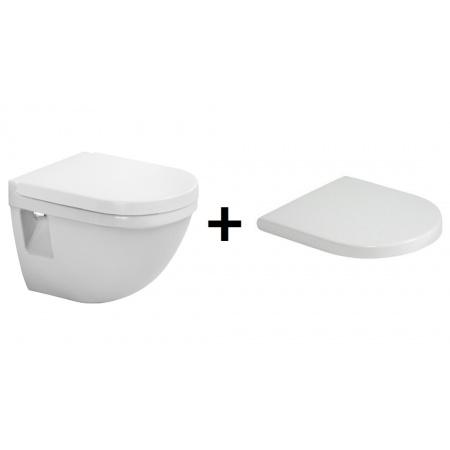 Duravit Starck 3 Zestaw Toaleta WC podwieszana 36x48,5 cm Compact krótka z deską sedesową zwykłą, biała 2202090000+0063810000