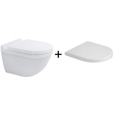Duravit Starck 3 Zestaw Toaleta WC podwieszana 54x36 cm Rimless bez kołnierza z deską sedesową wolnoopadającą, biały 45270900A1 2527090000+0063890000