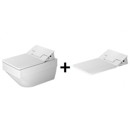 Duravit Vero Air Zestaw Toaleta WC podwieszana 57x37 cm Rimless z deską sedesową SensoWash, biały 2525590000+611500002004300