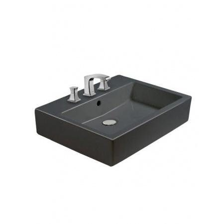 Duravit Vero Umywalka wisząca 50x47 cm z trzema otworami na baterie, czarna z powłoka WonderGliss 04545008301