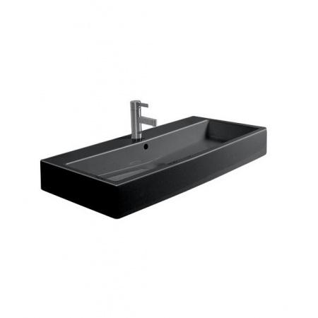 Duravit Vero Umywalka wisząca mała 80x47 cm z otworem na baterię, czarna z powłoka WonderGliss 04548008001
