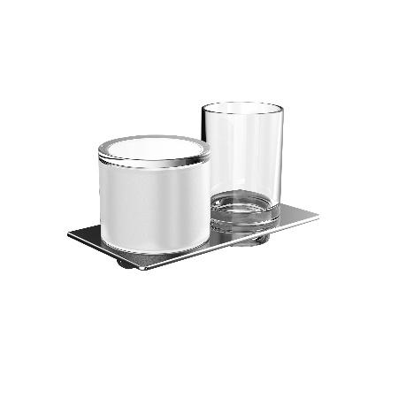 Emco Art Uchwyt ze szklanką oraz dozownik na mydło 19,4x10,1x11,5 cm, chrom 163100102