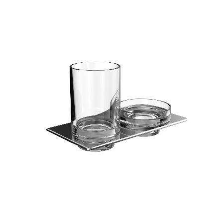 Emco Art Uchwyt ze szklanką oraz mydelniczka 19,4x10,1x11,5 cm, chrom 163300100