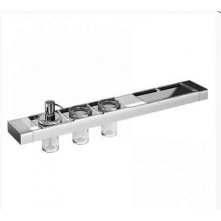 Emco Liaison Zestaw łazienkowy z dozownikiem do mydła, dwoma kubkami szklanymi i metalową półką 67,8x10,1x16,8 cm, chrom 176500121