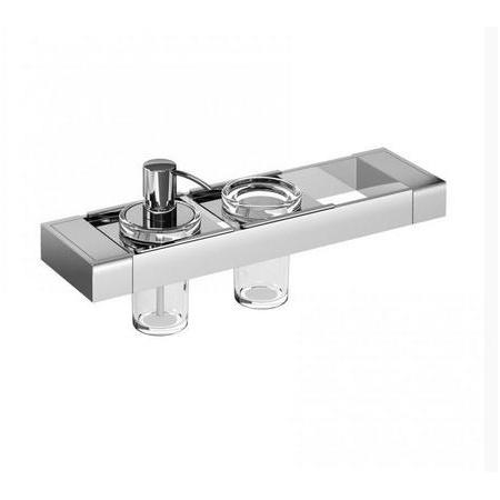 Emco Liaison Zestaw łazienkowy z dozownikiem do mydła i kubkiem szklanym 36,6x10,1x16,8 cm, chrom 176500102