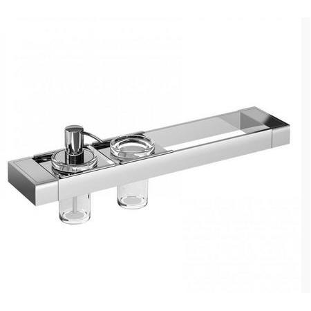 Emco Liaison Zestaw łazienkowy z dozownikiem do mydła i kubkiem szklanym 47,6x10,1x16,8 cm, chrom 176500108