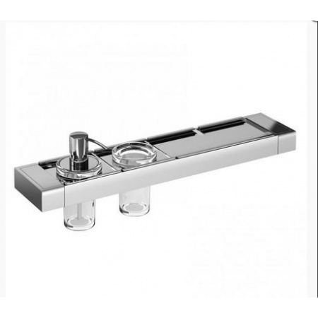 Emco Liaison Zestaw łazienkowy z dozownikiem do mydła i metalową półką 47,6x10,1x16,8 cm, chrom 176500112