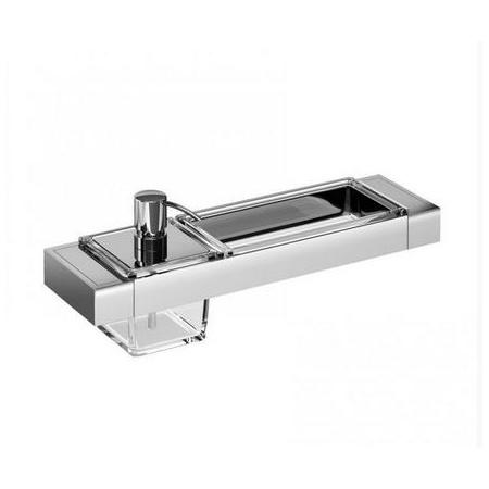 Emco Liaison Zestaw łazienkowy z dozownikiem do mydła i szklanym naczyniem prostokątnym 36,6x10,1x14,9 cm, chrom 176500103