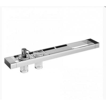 Emco Liaison Zestaw łazienkowy z dozownikiem do mydła, kubkiem szklanym i metalową półką 67,8x10,1x16,8 cm, chrom 176500119
