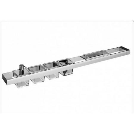 Emco Liaison Zestaw łazienkowy z dozownikiem do mydła, trzema pojemnikami głębokimi i pojemnikiem prostokątnym 102x10,1x16,8 cm, chrom 176500130