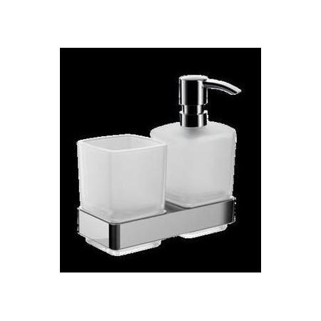 Emco Loft Uchwyt z kubkiem szklanym oraz dozownikiem na mydło 15,5x9,8x15,9 cm, chrom 053100100