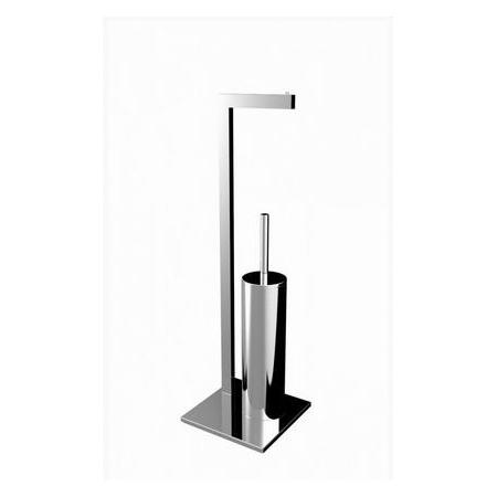 Emco Loft Wieszak na papier toaletowy ze szczotką do WC 20,5x20,5x68 cm, chrom 058000101