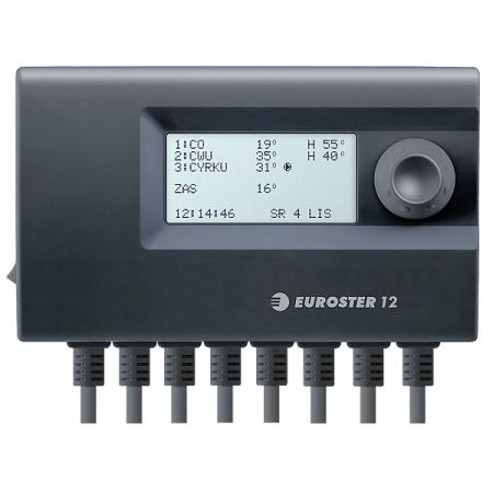 Euroster E12 Sterownik do instalacji grzewczej 3 urządzenia 15x5,2x9 cm, czarny E12