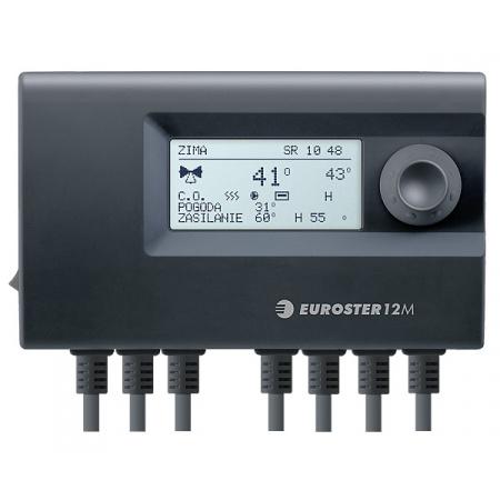 Euroster E12M Sterownik do regulacji temperatury w instalacji grzewczej z zaworem 3 lub 4-drogowym 15x5,2x9 cm, czarny E12M