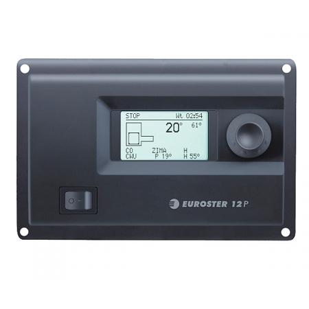 Euroster E12P Elektroniczny sterownik do kotła na paliwo stałe z podajnikiem ślimakowym 17,5x5,2x11,4 cm, czarny E12P