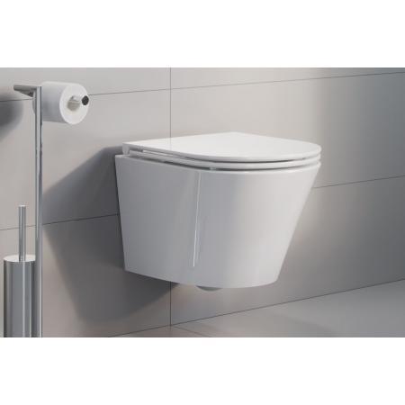 Excellent Joker Zestaw Toaleta WC krótka 47x36 cm bez kołnierza + deska wolnoopadająca biały CENL.4504.470.WH