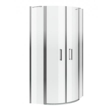 Excellent Mazo Kabina prysznicowa narożna półokrągła 100x100x195 cm dwudrzwiowa ze ścianką stałą, profile chrom szkło przezroczyste Clean Control KAEX.3001.1010.1010.LP