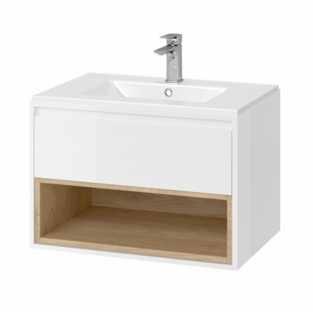 Excellent Tuto Zestaw Szafka podumywalkowa 80x45,7x48 cm z umywalką As, biały/dąb MLCE.0101.3617.800.WHBL