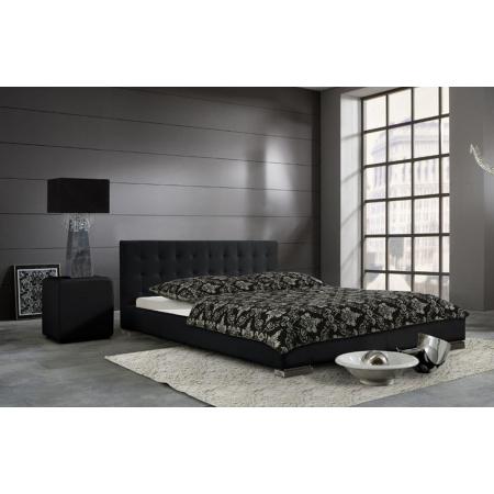 Fato Luxmeble Sara Łóżko tapicerowane 160 cm, czarne 3303