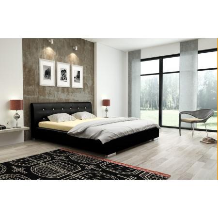 Fato Luxmeble Victoria Łóżko tapicerowane 140 cm, czarne 16450