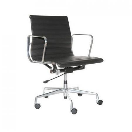 Fernity CH1171T Fotel biurowy skórzany czarny/chrom EA117TPCZARSKORCHR