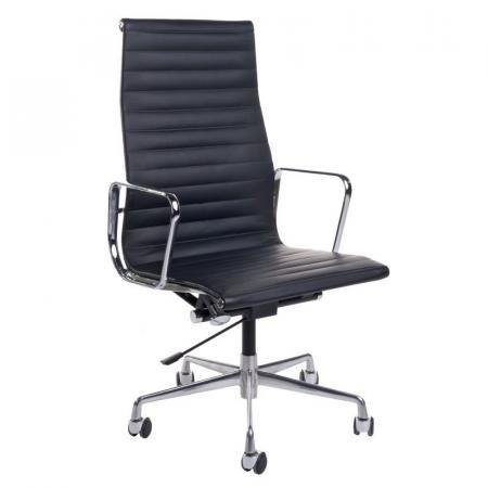 Fernity CH1191T Fotel biurowy skórzany czarny/chrom EA119TCZARSKORCHR