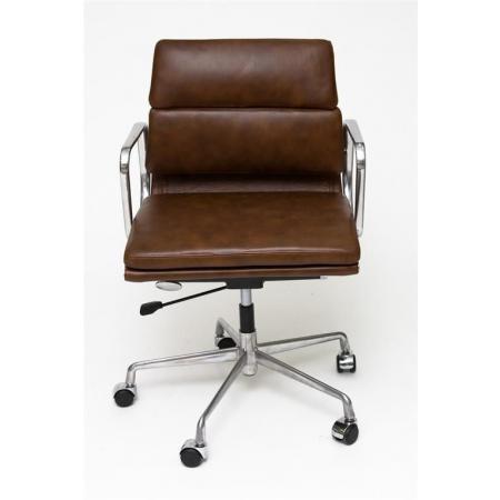 Fernity CH2171T Fotel biurowy skórzany brązowy/chrom EA217TSOFTPADBRAZ