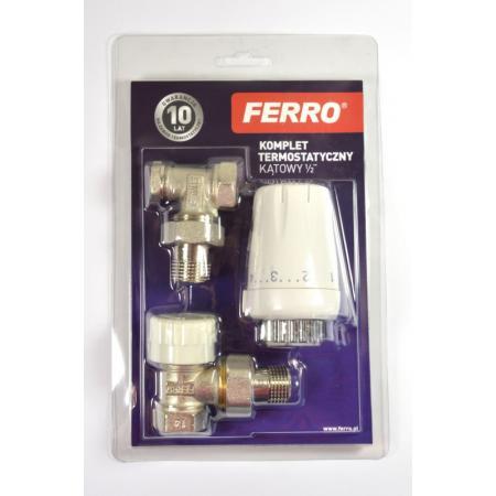 """Ferro Komplet termostatyczny kątowy 1/2"""" z głowicą GT11 biały ZTM08"""
