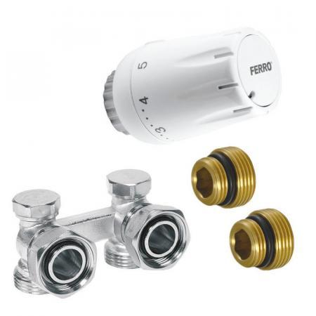 """Ferro Komplet termostatyczny kątowy uniwersalny 1/2"""" biały ZTV08"""