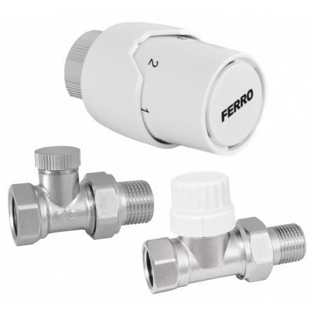 """Ferro Komplet termostatyczny prosty 1/2"""" biały ZTM20"""
