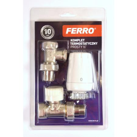 """Ferro Komplet termostatyczny prosty 1/2"""" z głowicą GT11 biały ZTM07"""