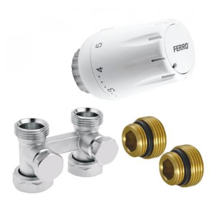 "Ferro Komplet termostatyczny prosty uniwersalny 1/2"" biały ZTV07"