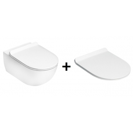 Flaminia App Zestaw Toaleta WC podwieszana 54x36x27 cm GoClean bez kołnierza wewnętrznego z deską sedesową wolnoopadającą, biały AP118G+QKCW05