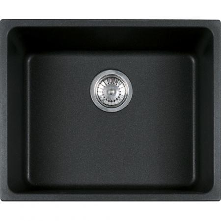 Franke Kubus KBG 110-50 Zlewozmywak granitowy jednokomorowy 54x44 cm do podbudowy z powłoką Sanitized, onyx czarny 125.0250.155