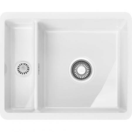 Franke Kubus KBK 160 Zlewozmywak ceramiczny półtorakomorowy 54,5x44,5 cm do podbudowy, biały polarny 126.0380.009