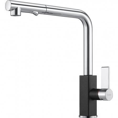 Franke Maris Pull-out spray Jednouchwytowa bateria kuchenna z wyciąganą wylewką z funkcją prysznica, chrom, onyx, czarna 115.0392.382