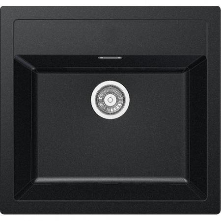 Franke Sirius SID 610 Zlewozmywak granitowy jednokomorowy 56x53 cm wbudowywany, onyx czarny 114.0205.049