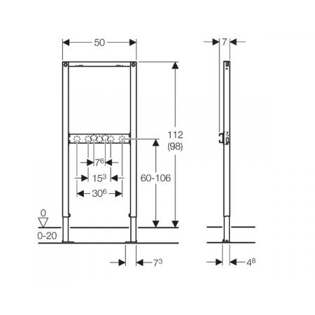 Geberit Duofix Stelaż podtynkowy do prysznica i wanny H112 do baterii natynkowej 111.740.00.1