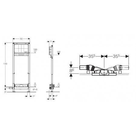 Geberit Duofix UP Stelaż podtynkowy do prysznica h65 H130 z odpływem ściennym 111.581.00.1
