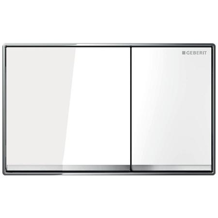 Geberit Omega60 Przycisk spłukujący do WC, szkło białe/chrom błyszczący 115.081.SI.1