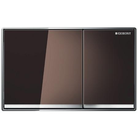Geberit Omega60 Przycisk spłukujący do WC, szkło umbra/chrom błyszczący 115.081.SQ.1