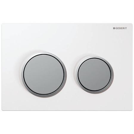 Geberit Omega20 Przycisk spłukujący do WC, biały/chrom mat 115.085.KL.1