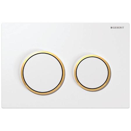Geberit Omega20 Przycisk spłukujący do WC, biały/złoty 115.085.KK.1