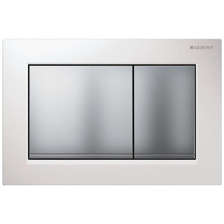 Geberit Omega30 Przycisk spłukujący do WC, biały/chrom mat 115.080.KL.1