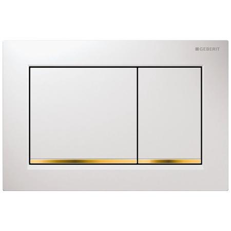 Geberit Omega30 Przycisk spłukujący do WC, biały/złoty 115.080.KK.1