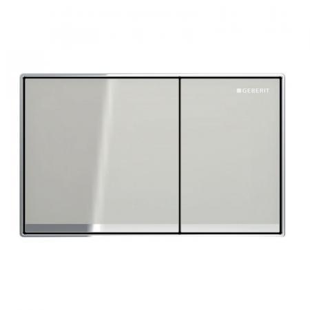 Geberit Omega60 Przycisk spłukujący szklany szary piaskowy/chrom połysk 115.081.JL.1