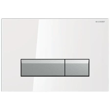Geberit Sigma40 Przycisk spłukujący do WC z odciągiem, szkło białe/aluminium 115.600.SI.1