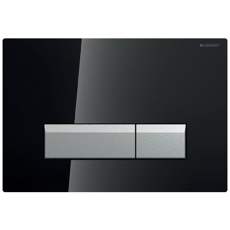 Geberit Sigma40 Przycisk spłukujący do WC z odciągiem, szkło czarne/aluminium 115.600.SJ.1