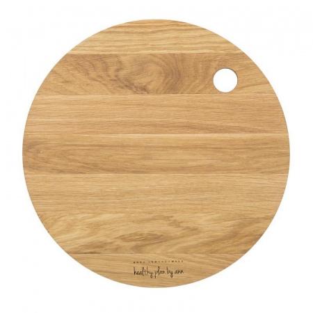 HPBA Deska do krojania okrągła 27 cm, dębowa DDO001