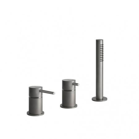 Gessi Bath316 Jednouchwytowa bateria wannowa 3-otworowa z mieszaczem stalowa szczotkowana steel brushed 54043.239